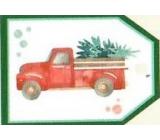 Nekupto Vianočné kartičky na darčeky Auto sa stromčekom 5,5 x 7,5 cm 6 kusov