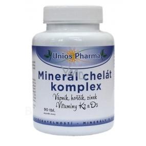 Uniospharma Minerál chelát komplex obsahuje minerály vápnik, horčík a zinok vo forme chelátov udržuje stav kostí a zubov 90 tabliet