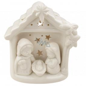 Betlehem porcelánový s LED osvetlením biely 12 cm