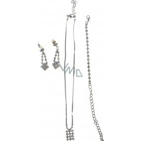 Bižutéria Náhrdelník strieborný s kamienkami 35 cm + náramok 11 cm + náušnice 1 pár