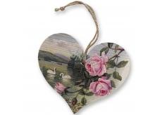 Drevené srdce s potlačou Ruže a labute 13 cm