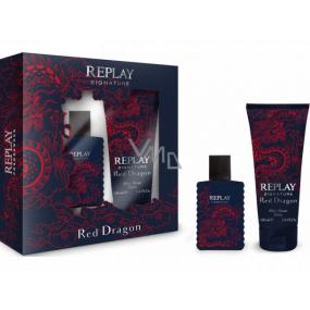 Replay Signature Red Dragon toaletná voda pre mužov 30 ml + balzam po holení 100 ml, darčeková sada