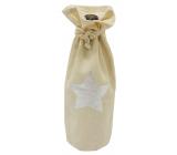 Pytlík látkový na fľašu so striebornou hviezdou 15 x 32 cm