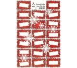 Arch Holografické dekorační samolepky vánoční vločky červené 20 etiket 1 arch