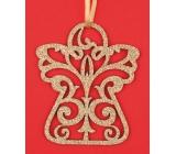Dřevěný anděl závěsný,zlatý glitr,10cm