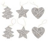 Pletené dekorácie šedé na zavesenie 6 kusov v sáčku