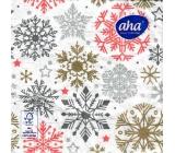 Aha Vianočné papierové obrúsky 3 vrstvové 33 x 33 cm 20 kusov Vločky