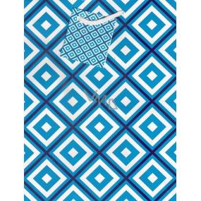 Nekupto Dárková papírová taška střední 23 x 18 x 10 cm modro-bílé káro 1042 40 BM
