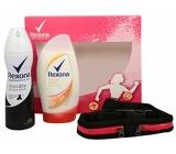 Rexona Motionsense Invisible Black + White antiperspirant deodorant sprej pro ženy 150 ml + Tropical Power sprchový gel 250 ml + sportovní pouzdro na běhání, kosmetická sada