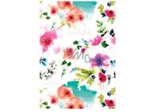 Ditipo Baliaci papier biely, červené kvety 100 x 70 cm 2 kusy
