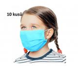 Rúška 3 vrstvová ochranná zdravotné netkaná jednorazová, nízky dýchací odpor pre deti 10 kusov svetlo modrá bez potlače