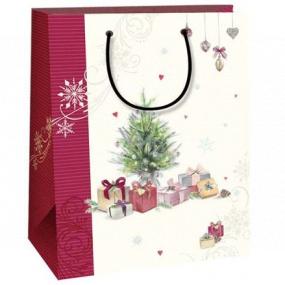 Ditipo Darčeková Kraftová taška 18 x 8 x 24 cm biela vínový pruh stromček s darčekmi 50