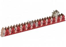 Adventný kalendár drevený červený so zlatou hviezdou 78 x 395 mm