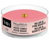 Woodwick Melon & Pink Quartz - Melón a ružový kremeň vonná sviečka s dreveným knôtom petite 31 g