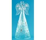 Anděl skleněný na postavení s modrou sukní 16 cm
