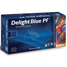 Aurelia Delight Blue PF Rukavice vinylové jednorazové bez púdru veľkosť L box 100 kusov