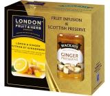 London Fruit & Herb Lemon & Ginger ovocno-bylinný čaj 20 sáčků x 2 g + zázvorová zavařenina 340 g, sada