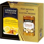 London Fruit & Herb Lemon & Ginger ovocno-bylinný čaj 20 vrecúšok x 2 g + zázvorová zaváranina 340 g, sada