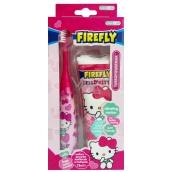 Hello Kitty 6+ Turbo elektrický zubní kartáček měkký na baterie + Žvýkačková zubní pasta 75 ml expirace 5/2017