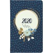 Albi Diár 2020 vreckový týždenný Modrá kvetina 15,5 x 9,5 x 1,2 cm