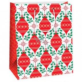 Ditipo Darčeková papierová taška 26,4 x 13,6 x 32,7 cm biela červené ozdoby AB