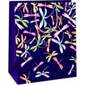 Ditipo Darčeková papierová taška 26,4 x 13,7 x 32,4 cm fialová farebné vážky