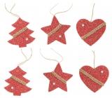 Pletené dekorácie červenej na zavesenie 6 kusov v sáčku