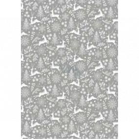 Ditipo Darčekový baliaci papier 70 x 200 cm Vianočné strieborný jelene stromčeky vločky