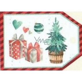Nekupto Vianočné kartičky na darčeky Darčeky a stromček v kvetináči 5,5 x 7,5 cm 6 kusov