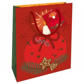 Nekupto Darčeková papierová taška 23 x 18 x 10 cm Vianočná červená so sviečkou WBM 1932 30