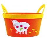 Košík z filcu oranžový s bílou ovečkou 22 cm