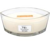 Woodwick Baby Powder - Detský púder vonná sviečka s dreveným širokým knôtom a viečkom sklo loď 453 g