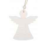 Anjel drevený závesný biely 9 cm 2 kusy
