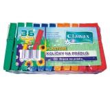 Clanax Štipce na bielizeň plastové farebné 36 kusov