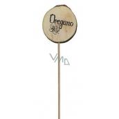 Bohemia Gifts & Cosmetics Drevený zápich k bylinkám s potlačou - Oregano priemer kolieska je 5 - 8 cm