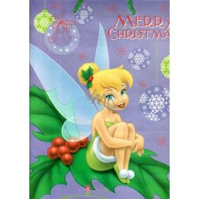 Ditipo Disney Dárková papírová taška pro děti L Zvonilka Merry Christmas 26,4 x 12 x 32,4 cm