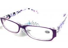 Berkeley Čtecí dioptrické brýle +2,0 plast fialové stranice s obdelníky 1 kus MC2084