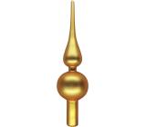 Sklenená špica na strom matná zlatá 24 cm