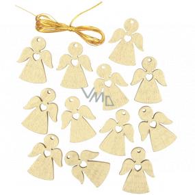 Anjel drevený závesný zlatý 3 cm 12 kusov