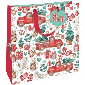 Nekupto Darčeková papierová taška luxusné 33 x 33 cm Vianočná auto sa stromčekom WLIL 1978