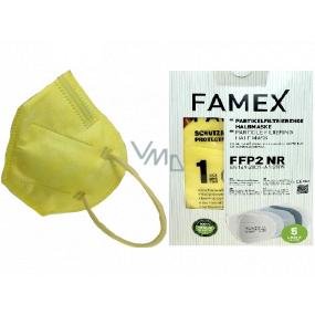 Famex Respirátor ústnej ochranný 5-vrstvový FFP2 tvárová maska žltá 10 kusov