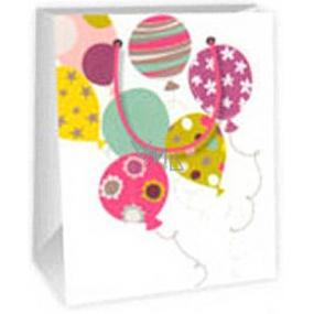 Ditipo Darčeková papierová taška 11,4 x 6,4 x 14,6 cm biela balóniky