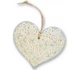 Bohemia Gifts & Cosmetics Dřevěné dekorační srdce s potiskem Bílé květy 13,5 cm