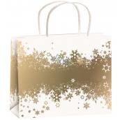 Anjel Taška vianočná darčeková biela-zlatý pás vločiek M horizont 23 x 18 x 10 cm