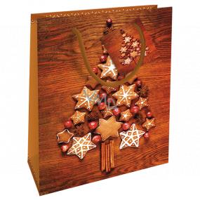Nekupto Darčeková papierová taška 23 x 18 x 10 cm Vianočný hnedá stromček z perníčkov WBM 1931 01