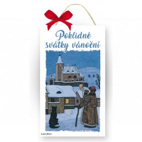 Nekupto Drevená ceduľka Josef Lada Pokojné sviatky vianočné 20 x 12 x 0,5 cm