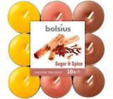 Bolsius Aromatic Sugar & Spice - Cukor a korenie vonné čajové sviečky 18 kusov, doba horenia 4 hodiny