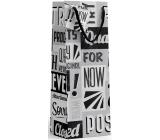Nekupto Darčeková papierová taška na fľašu 10 x 33 x 9 cm Čierno-biela s písmenami 1895 02 KFLH
