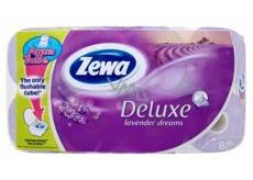 Zewa Deluxe Aqua Tube Lavender Dreams parfémovaný toaletní papír 3 vrstvý 150 útržků 8 kusů, rolička, kterou můžete spláchnout