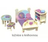 Mini Dream Home Drevené puzzle nábytok snov 05 spálňa s knižnicou 20 x 15 cm